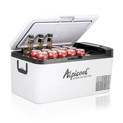 Alpicool K18 18 Liter Kühlbox Klein Elektrische Mini Kühlschrank Gefrierbox 12v mit USB Anschluss für Auto, Lkw, Boot, RV und Steckdose, -20℃-20℃