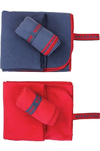 NORDKAMM – Mikrofaser Handtuch Set mit Oeko TEX 100  Zertifikat, Ultraleicht, Microfaser Handtuch Reise 2er-Set: klein 50x100, groß 70x150, blau oder rot (Blau)