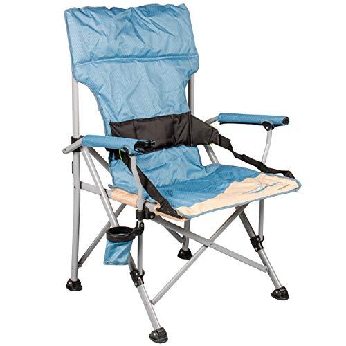 Meerweh Deluxe Campingstuhl XXL, mit Rückenunterstützung, bis 120 kg, beige blau