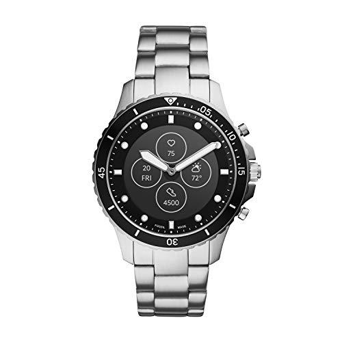 Fossil FB-01 HR- Hybrid Smartwatch Schwarzes Zifferblatt mit silberfarbenem Edelstahlarmband für Herren - FTW7016
