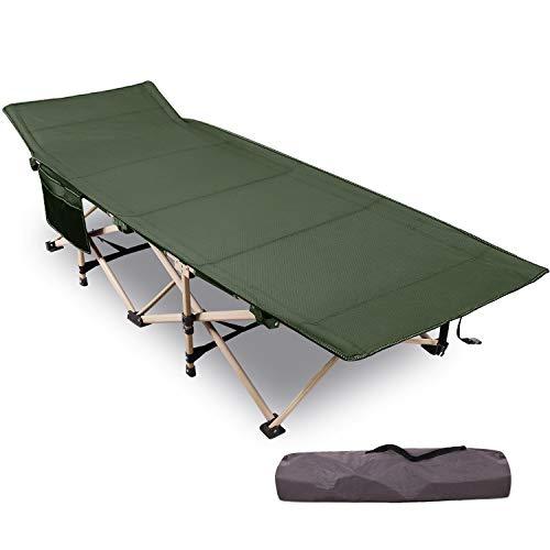 REDCAMP Feldbett Campingbett Kappbar, Max Statische Belastbarkeit 226kg,XXL Faltbar Betten 190 x 71 x 38 cm, Campingliege for für Outdoor Camping Reisen, Grün