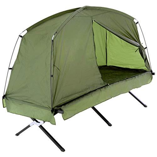 Nexos Survival-Zelt Feldbett mit Zelt 190x80 cm Wassersäule 1000mm 600D Polyester grün Fenster Moskitonetz 1-Personen-Zelt Angelzelt Angel-Liege