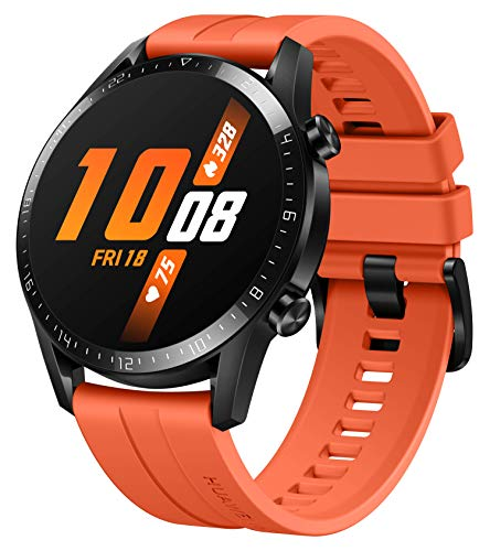 HUAWEI Watch GT 2 Smartwatch (46mm Full-Color-AMOLED, SpO2-Monitoring, Herzfrequenzmessung, Musik Wiedergabe&Bluetooth Telefonie, 5ATM wasserdicht, GPS) Sunset Orange [Exklusiv+5 EUR Gutschein]