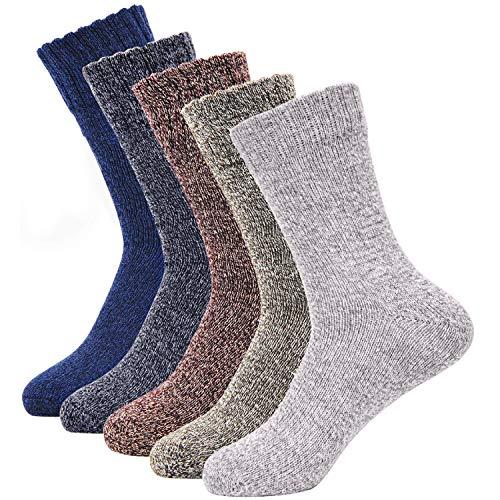 SIMIYA Herren Socken, Winter Männer Wollsocken, warm dick Thermosocken, 5 Paar