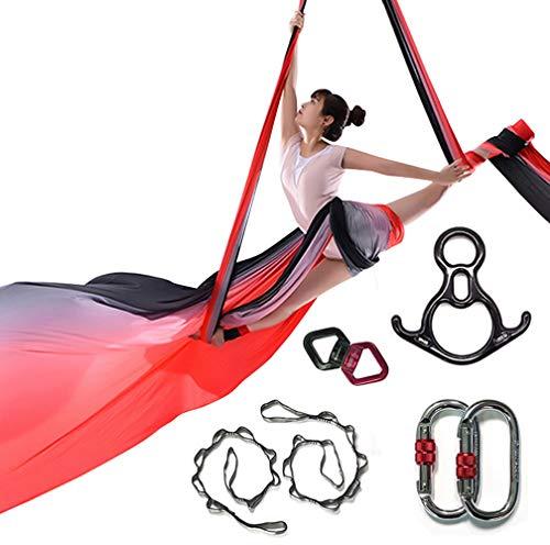 KIKIGOAL 10 m lange Aerial Yoga Silk Equipment Yoga Pilates Swing Aerial Yoga Antigravity Hängematte Trapez für Yoga Gurt Bodybuilding (graduell H)