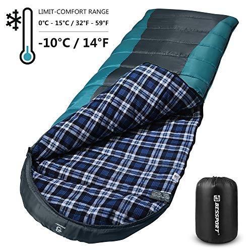 Bessport Schlafsack 3-4 Jahreszeiten Winter   Wasserdichter Deckenschlafsack   100% Sprüh Gebundene Baumwolle Füllung - für Camping, Reisen und Outdoor (Grey)