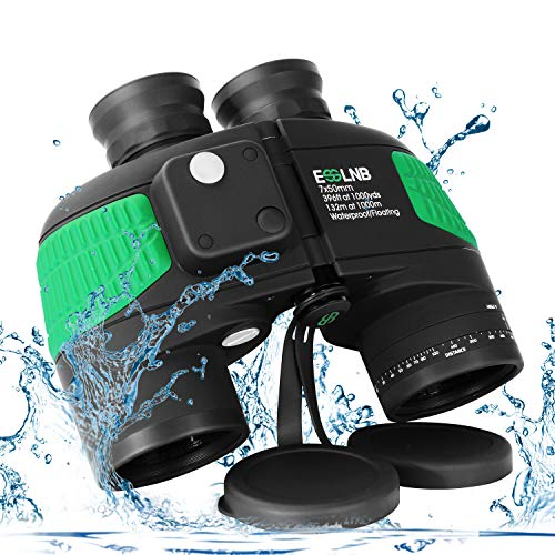 ESSLNB Marine Fernglas mit Entfernungsmesser Nachtsicht Kompass 7x50 Militär Feldstecher Ferngläser Wasserdicht BAK4 für Kinder Erwachsene mit Tasche und Gurt