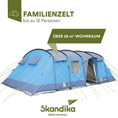 skandika Hurricane 12 Personen Familien-Zelt, wasserdicht mit 5000 mm Wassersäule; großes, geräumiges, Robustes Steilwand-Zelt, Tunnel-Zelt mit 4 Schlafkabinen und Moskitonetzen (blau/grau)