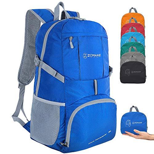 ZOMAKE 35L Ultraleicht Faltbarer Wanderrucksack, Multi-Funktionaler Stopfbarer Wasserdichter Casual Camping Tagesrucksack für Outdoor-Sport Klettern Bergsteiger (Dunkelblau)