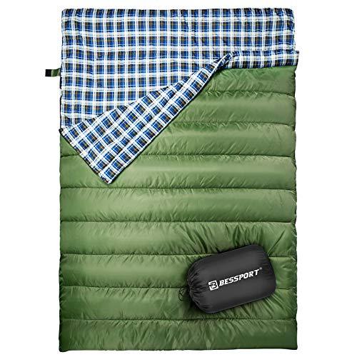 Bessport Doppelschlafsack, Schlafsäcke für Erwachsene Rucksack, leicht und wasserabweisend für Camping, Wandern und Outdoor im Winter, Herbst, Frühling