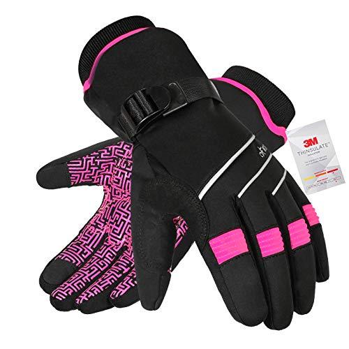 MOREOK -30°F Skihandschuhe Wasserdicht Warme Winterhandschuhe 3M Thinsulate Winddicht Touchscreen-Fingerspitzen Fahrrad Handschuhe für Wandern Snowboard Motorrad Radfahren Herren Damen ROSA-XS