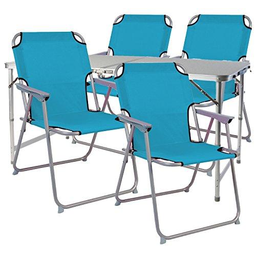 Mojawo 5-teiliges Campingmöbel Set Alu 120x60x58/70cm 1x XXL Campingtisch mit Tragegriff + 4 Campingstühle Petrol Stoff Oxfort