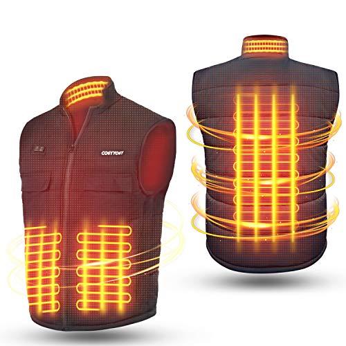 Beheizte Weste für Herren Damen, Elektrische Beheizbare Weste Beheizte Jacke USB mit 2 Schalter, 3 Einstellbar Temperatur, 4 Heizzonen, 6 Taschen, Lade Heizweste Heizjacke für Outdoor Motorrad Camping