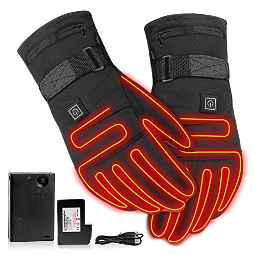 Beheizbare Handschuhe Winter Motorrad Handschuhe 3.7V 4000 MAh Wiederaufladbare Batterie Touchscreen Winddichte Beheizte Handschuhe Für Reiten Jagen Angeln Skifahren
