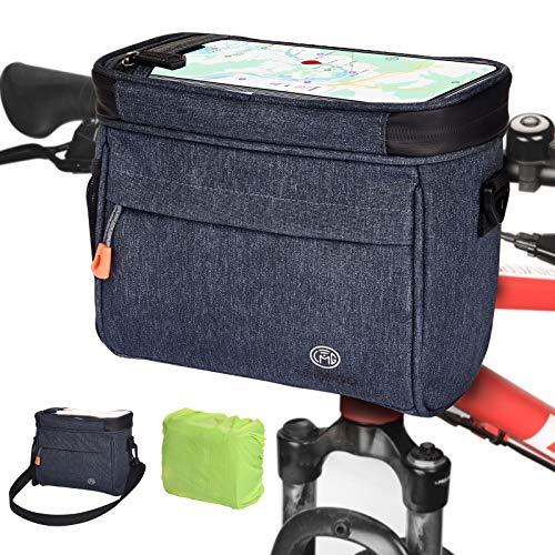 Lenkertasche 4.2L Wasserdichter Fahrradkorb Tasche mit Touchscreen Vorne Fahrradtasche mit Netztasche Radtasche Fronttasche Lenkerkorb Fahrrad Handyhalterung mit Schultergurt für alle Handy (Blau)