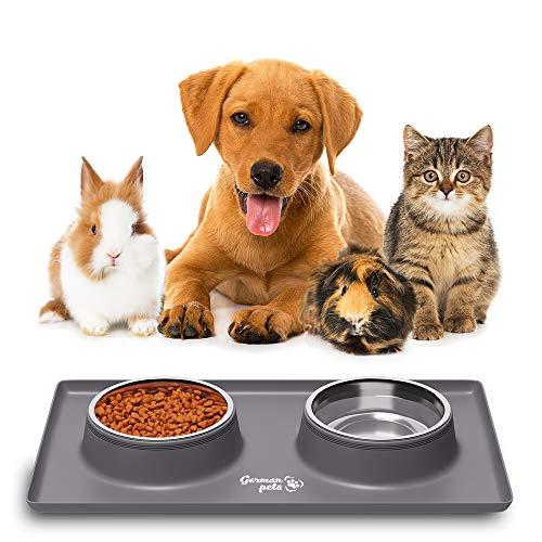 Futternapf Fressnapf mit Silikon Unterlage Katzennapf Hundenapf Set für kleine Hunde und Katzen | Rutschfest und Wasserdicht | 2x 400 ml Edelstahlschüsseln Fressnapfunterlage mit Rand
