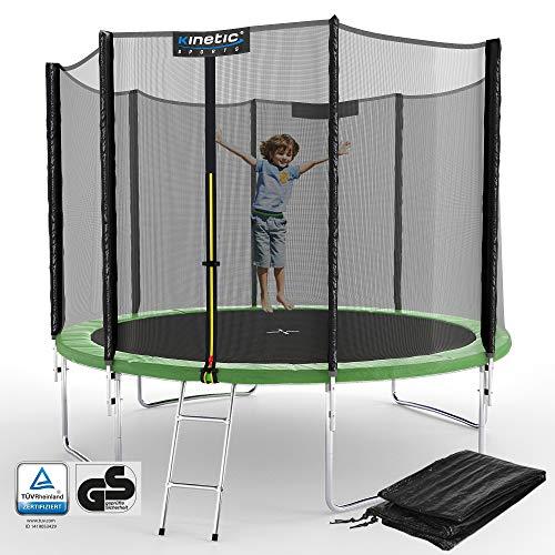 Kinetic Sports Outdoor Gartentrampolin Ø 305, TPLS10, inklusive Sprungtuch aus USA PP-Mesh +Sicherheitsnetz +Rand- u. Regen-Abdeckung +Leiter, bis 160kg, GS-geprüft,UV-beständig, GRÜN