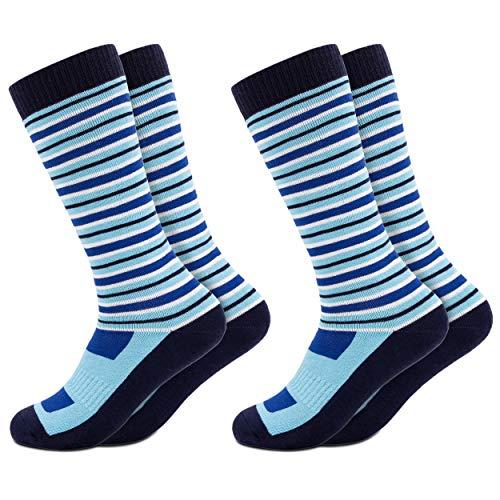 Occulto 2 Paar Kinder Skisocken | Kniestrümpfe für Jungen und Mädchen | Warme Kinder Winter Thermo Socken Größen 23-38 | Winter Sportsocken für Kinder (27-30, Blau)