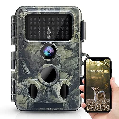 4K 30MP WLAN Bluetooth Wildkamera, APP Control 940nm No Glow Nachtsicht Aytarr Jagdkamera 0,3s 65ft Trigger 120 ° Wide 3PIR IP66 Wasserdichter 2,4' LCD-Bildschirm