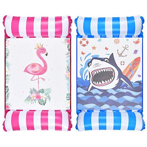 WERNNSAI Hängematte Pool Floats für Erwachsene - 2 Pack Aufblasbare Pool Float Wasser Hängematte 4 in 1 Mehrzweck-Schwimmbad Liege Sattel Drifter Tragbarer Wasserschwimmer für Reisen (Flamingo & Hai)