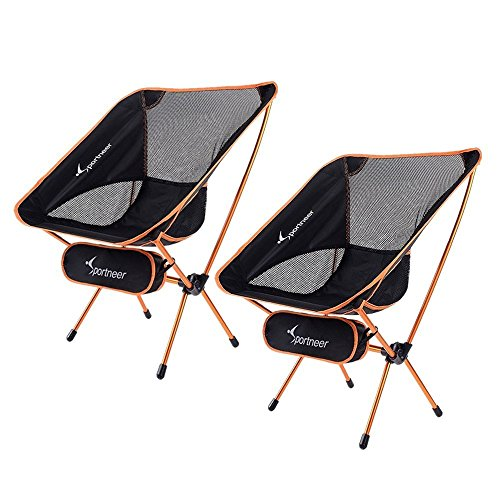 Sportneer Campingstuhl, Tragbar Leicht Faltbar Camping Stuhl bis zu 150 kg für Backpacking/Wandern/Picknick/Fische (Dunkelbraun-2pack)