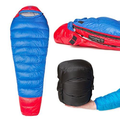 Paria Outdoor Products Thermodown 15 Degree Survival-Daunenschlafsack - Ultraleichter 3-Jahreszeiten-Schlafsack - Perfekt für Camping und Rücksacktourismus