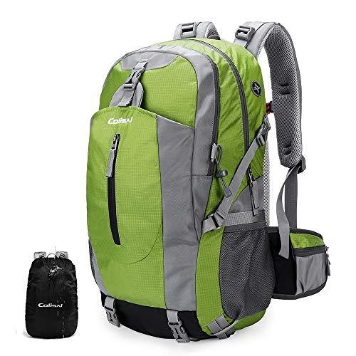 Colisal Wanderrucksack Herren 40L Trekking Rucksack Damen Tagestour Rucksack mit Regenschutz Camping Rucksäcke für Wandern Outdoor und Reisen Grün