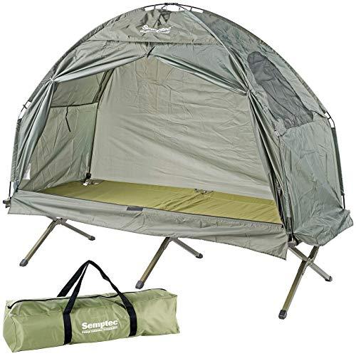 Semptec Urban Survival Technology Feldbettzelt: 2in1-Zelt mit Alu-Feldbett, 1200 mm Wassersäule, 193 x 78 x 160 cm (Liege mit Zelt)