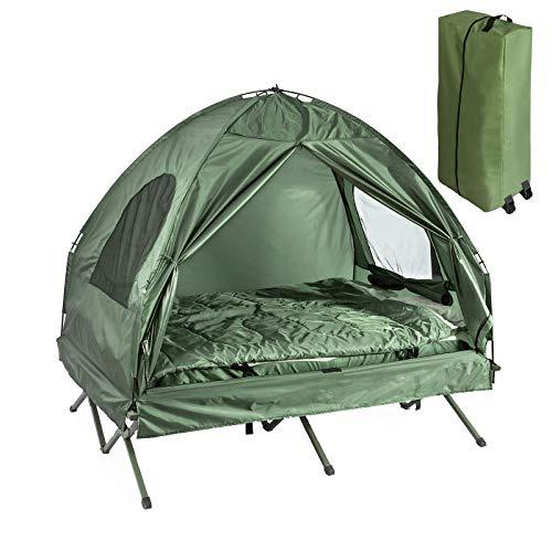 SoBuy OGS32-L-GR Feldbett 4in1-Zelt mit Campingliege Schlafsack Luftmatratze und Zubehör Campingzelt 2 Personen