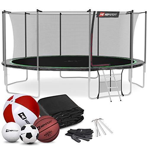 Hop-Sport Trampolin Outdoor Ø 305 cm – Gartentrampolin Komplettset mit 4 stabilen U-Beinen, innenliegendem Netz, Sprungtuch und Leiter sowie Extra-Zubehör, schwarz/grün