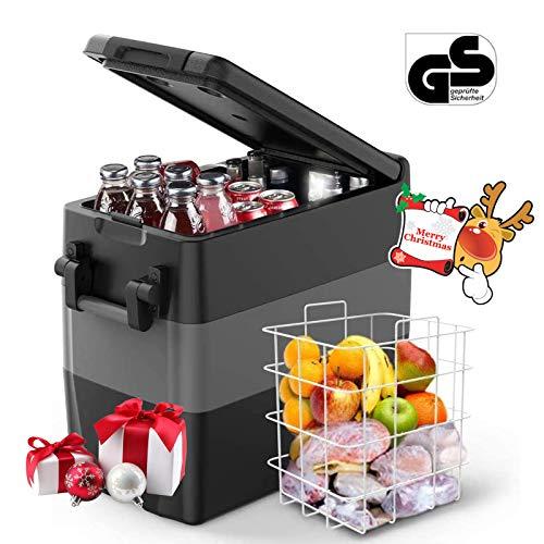 ISSYZONE Kompressor Kühlbox Gefrierbox, 50L GS geprüfter elektrischer tragbarer Auto Kühlschrank, -18 bis 10 ° C, mit Batteriewächter, 12 V und 230 V für Auto, LKW, Wohnmobil und Steckdose