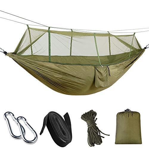 Karrong Hängematte Outdoor mit Moskitonetz Ultraleichte Atmungsaktiv, Schnelltrocknend Fallschirm Nylon Camping Hängematte für Trekking, Reise - 440lbs Kapazität, 260 x 140 cm