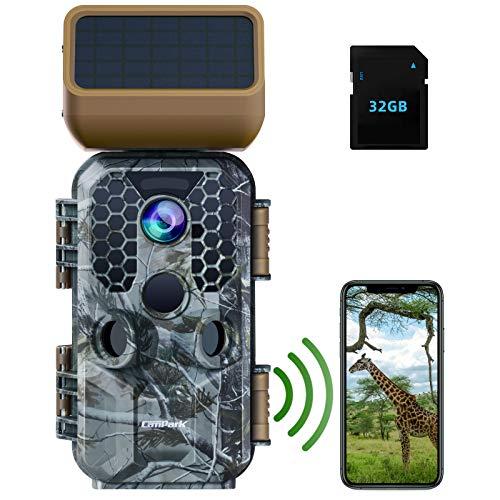 Campark Solarpanel Wildkamera 4K 30MP, WLAN Wildtierkamera mit Nachtsicht Bewegungsmelder, Bluetooth Wildlife Jagdkamera mit 32GSD Karte IP66 Wasserdicht
