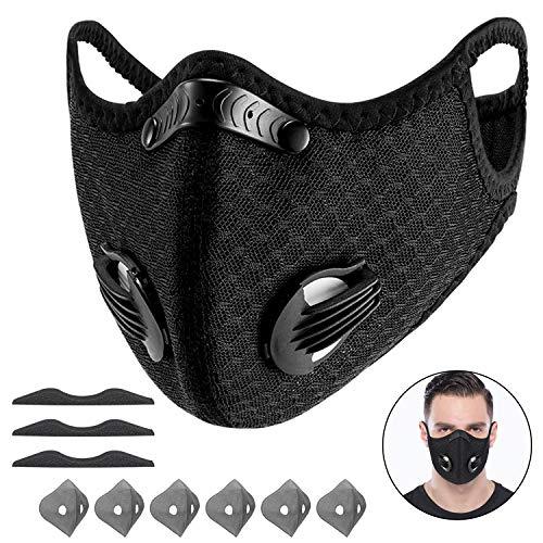 Yeswell Staubmaske Fahrrad Maske mit 6 Aktivkohlefilter Baumwolle und 2 Auslassventilen Allergie Maske Gesichtsschutz Staubdicht Maske für Radfahren Laufen Fitness Outdoor-Aktivitäten, Schwarz