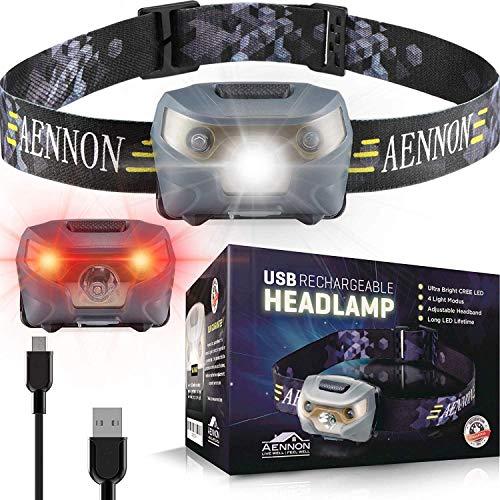 USB Wiederaufladbare LED Stirnlampe Kopflampe, Sehr hell, wasserdicht, leicht und bequem, Perfekt fürs Joggen, Gehen, Campen, Lesen, Laufen, für Kinder und mehr, inklusive USB Kabel (1)