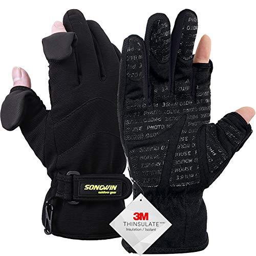 Songwin wasserdichte Winterhandschuhe,3M Thinsulate Ski & Snowboard Handschuhe für Herren und Damen,Touchscreen-Handschuhe zum Angeln,Fotografieren,Jagen im Freien.(Schwarz, S)