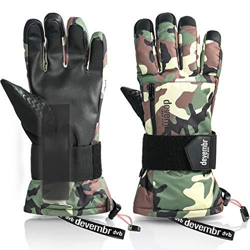 devembr Skihandschuhe Herren & Damen, wasserdichte Snowboard-Handschuhe mit abnehmbaren Handgelenkschutz & 3M Thinsulate Insulation, Schneehandschuhe mit langlebigem PU-Material (Camouflage, XS)