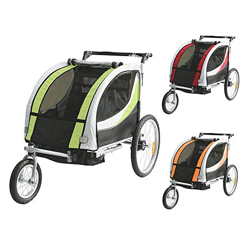 Kinderanhänger Fahrradanhänger 2 in 1 Anhänger Kinderfahrradanhänger mit Buggy Set + Federung BT605 (GRÜN)
