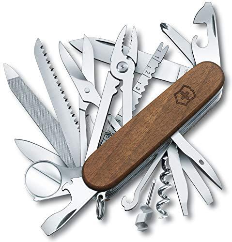 Victorinox Taschenmesser Swiss Champ Wood (29 Funktionen, Holzsäge, Schere, Kombi-Zange, Drahtschneider, Lupe) Holz