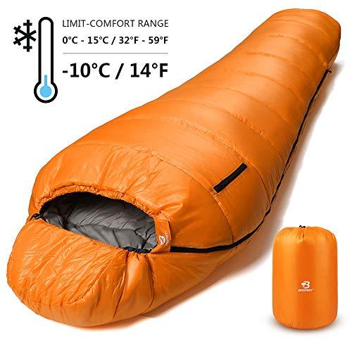 Bessport Schlafsack Winter | -10°C Outdoor Mumienschlafsack für Camping und Bergsteigen mit Ultraleichter und Ultrakompakter 100% Sprüh Gebundene Baumwolle 400g/m² Füllung (Orange)
