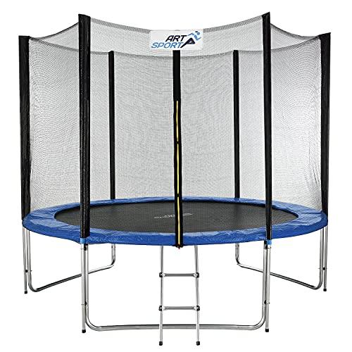 ArtSport Outdoor Trampolin Jampino Ø 305 cm GS-geprüft – Gartentrampolin mit Sicherheitsnetz, Leiter & Randabdeckung – Kindertrampolin bis 150 kg