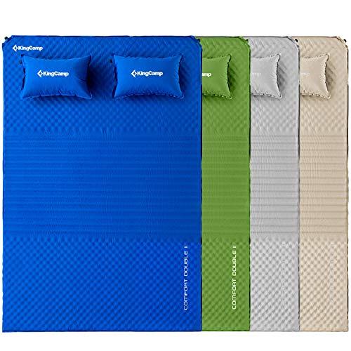 KingCamp Doppel Isomatte Selbstaufblasbare Campingmatratze mit 2 Selbstaufblasenden Kissen für Camping Outdoor, Super Komfort für 2 Personen, 198 × 130 × 4 cm, Blau