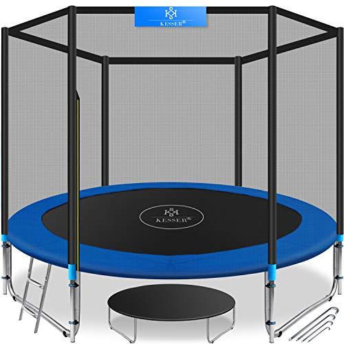 KESSER® - Trampolin Ø 305 cm   TÜV SÜD GS Zertifiziert   Komplettset mit Sicherheitsnetz, Leiter, Randabdeckung & Zubehör   Kindertrampolin Gartentrampolin Belastbarkeit 150 kg