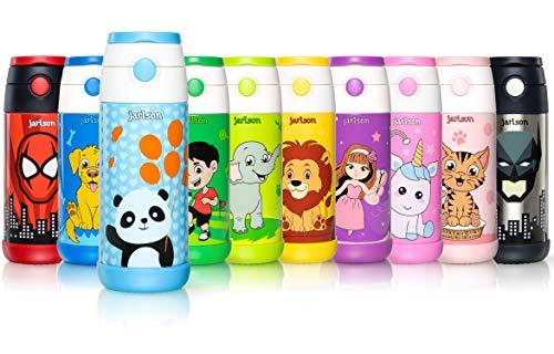 JARLSON® Trinkflasche Kinder - Wasserflasche 500ml - BPA frei - auslaufsicher - Kinderflasche mit Strohhalm - Tritan Flasche für Schule, Kindergarten, Fahrrad (Blau Panda)