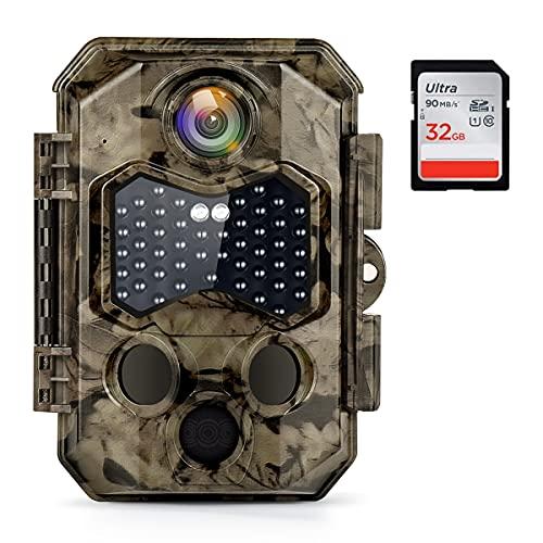 COOLIFE Wildkamera 4K 32MP Utral-HD Infrarot nachtsichtkamera 120 °Weitwinkel, 20m Auslöseentfernung 0,2s Schnelle Trigger Geschwindigkeit 45 pcs 940nm IR LEDs IP66 Wasserdichter Bewegungsmelder