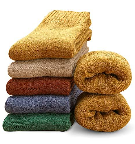 MOSOTECH 5 Paar Damen Socken, Dicke Thermosocken Warme Wintersocken Frauen Wollsocken/Bunte Stricksocken Damen Mädchen Tägliche Abnutzung/Gemütlich Atmungsaktiv