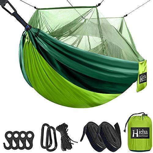 Hieha Camping Hängematte mit Moskitonetz, tragbare Doppel- und Einzelbaumhängematten mit 2 Baumgurten, Wanderwanderhängematten für Erwachsene und Kinder, leichte Überlebens-Hängemattenzelte