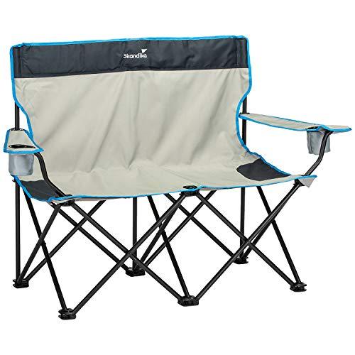 skandika Campingstuhl Single/Double Klappstuhl Faltstuhl bis 150/200 kg belastbar, Getränkehalter und Tragetasche (Double Folding Chair)
