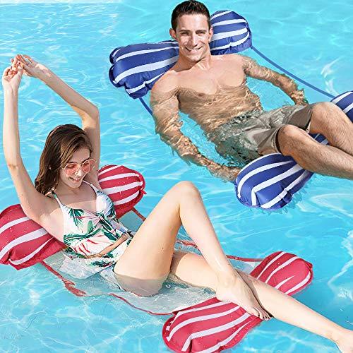 Gifort Aufblasbare Hängematte, 2-Pack Wasser-Hängematte 4-in-1Loungesessel Pool Lounge luftmatratze Schwimmende Wasser Bett Matte Swimmingpool Beach Float