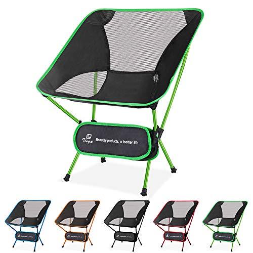 Tinya Ultraleichter Rucksackreisen-Campingstuhl: Kinder Erwachsene, Rucksackreise, strapazierfähig, tragbar, leicht, faltbar, für Strand, Picknick, Reisen, Wandern, grün - Spring Green
